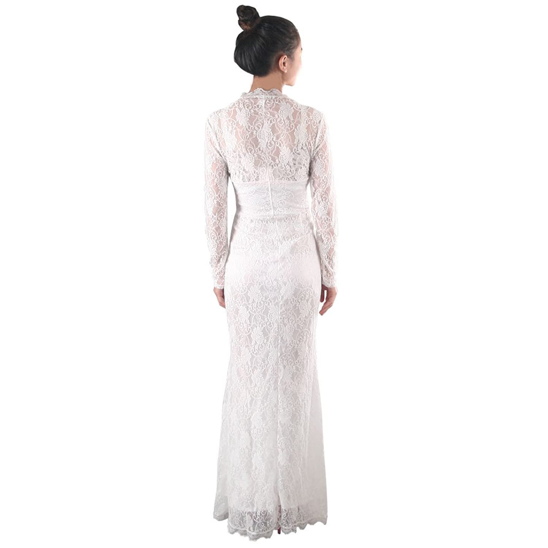 Fashion Herbst New Style elegante reizvolle Bodycon lange Hülsen-Spitze- Kleid, M, weiß: Amazon.de: Bekleidung