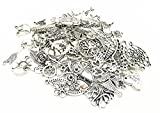 Yansanido 100 Gram Assorted DIY Antique Charms Pendant Mixed Charms Pendants (Silver)
