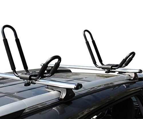 Ace-Trades 2 Pairs J-Bar Universal Carrier Kayak Rack Canoe Boat Surf Ski Roof Top Mounted on Car SUV Crossbar