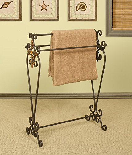 JaxTerrific Elegant Quilt Rack, 3 Sturdy Metal Poles for Ample Storage, Touch of Elegance to Your Decor, Distinguished Design, Sturdy and Long Lasting Metal Construction, Oil Rubbed Bronze Finish