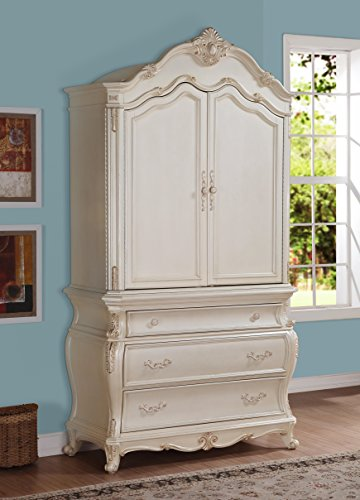 Meridian Furniture Marquee-A Marquee 2 Door + 3 Drawer Solid Wood Armoire, with French Provincial Hand Crafted Designs, Pearl White Finish with Gold Accents ()