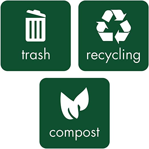dark green Trash Recycling and Compost Decal Labels decalfarm