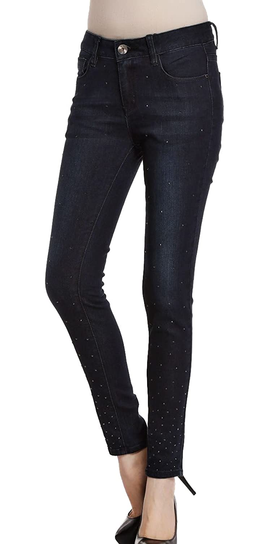 JUYE Women's Rhinestone Slim Jeans