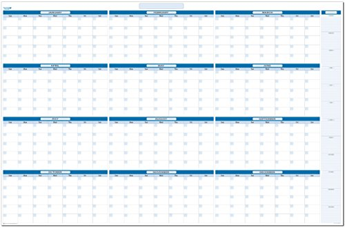 Sky Blue Undated Annual Yearly Dry and Wet Erasable Wall Calendar 38 in. x 58 in. Horizontal with Next Year Planning Area by PlanetSafe Planners & Calendars