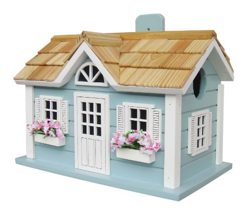 Home Bazaar Hand-made Nantucket Cottage Blue Bird House - Bird Friendly - Home Decor by Home Bazaar, Inc.