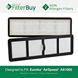 2 - Eureka Airspeed EF6 (EF-6) HEPA Replacement Filters, Part 83091-1. Designed by FilterBuy to fit Eureka Airspeed AS1000 Upright Vacuums