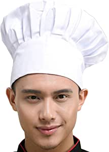 Hyzrz Chef Hat Adult Adjustable Elastic Baker Kitchen Cooking Chef Cap, White