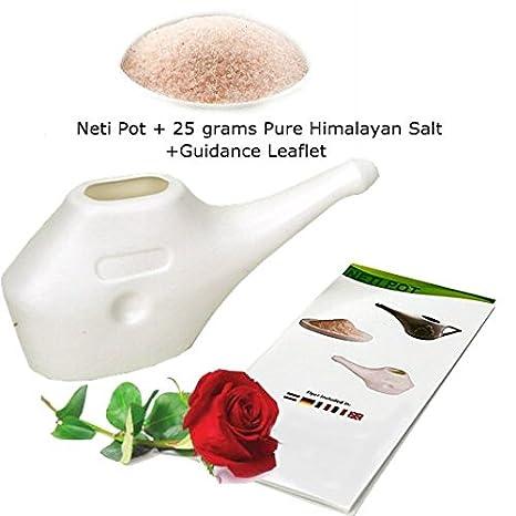 Neti Pot para limpieza nasal con 25 G Pure sal del Himalaya + orientación folleto | Yoga Essentials | ligero & irrompible