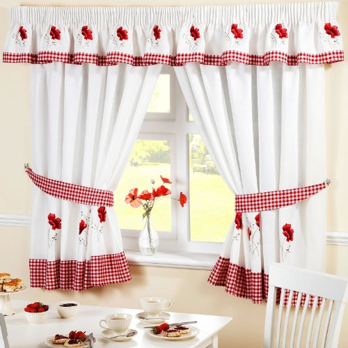 "Price comparison product image POPPY GINGHAM KITCHEN EMBROIDERED DRAPES CURTAINS RED WHITE W46"" X L48"" INC TIE BACKS"