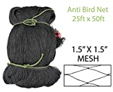 Amaranth Nets Anti Bird Netting 25 Feet x 50 Feet Net Size with 1.5' x 1.5' Mesh Size, HDPE UV Stabilized Material.