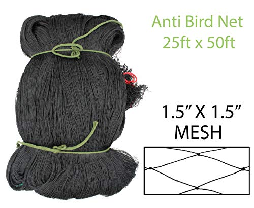 Amaranth Nets Anti Bird Netting 25 Feet x 50 Feet Net Size with 1.5