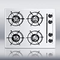 Summit WTL03 24 Gas Cooktop 4 Open Burners, Pilot Light Ignition and Porcelain Enameled Steel Grat