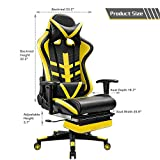 Homall Gaming Chair Ergonomic High-Back Racing Chair Premium PU Leather Bucket Seat,Computer Swivel Lumbar Support Executive Office Chair With Footrest (Yellow)