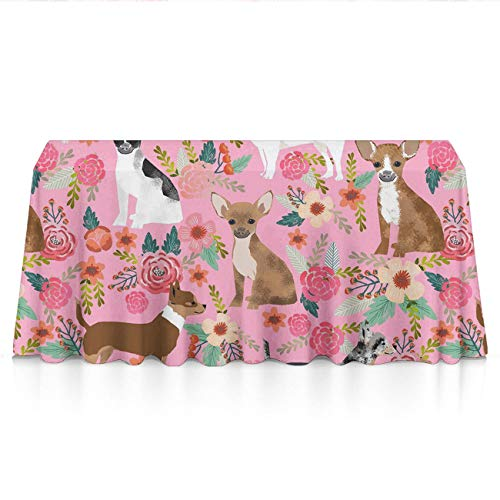 Stain Resistant Waterproof Rectangular Table Cloths - Chihuahua Dog Cute Pink Seasonal Decor, Square Or Round Tables Tablecloths for Dinner Parties Catering Events]()