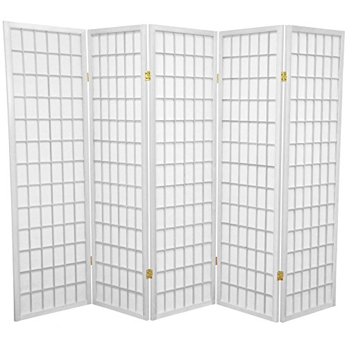 Oriental Furniture 5 ft. Tall Window Pane Shoji Screen - White - 5 Panels - Furniture White Panel