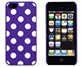 retro 5s grape - Purple Polka Dot Embossed Slim Fit Hard Case for Apple iPhone 5S / 5 (AT&T, Verizon, Sprint, International) - Includes DandyCase Keychain Screen Cleaner [Retail Packaging by DandyCase]