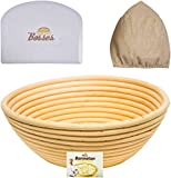 bread bags round - 9 inch Banneton Proofing Basket Set - for Professional & Home Bakers (Sourdough Recipe) w/Bowl Scraper & Brotform Cloth Liner for Rising Round Crispy Crust Baked Bread Making Dough Shape Loaf Boules