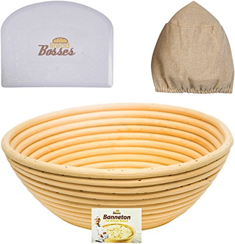 9 inch Banneton Proofing Basket Set - for Professional & Home Bakers (Sourdough Recipe) w/Bowl Scraper & Brotform Cloth Liner for Rising Round Crispy Crust Baked Bread Making Dough Shape Loaf Boules