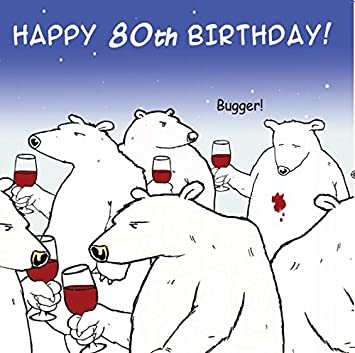 Twizler Funny Birthday Card With Polar Bear And Wine 80th Humour