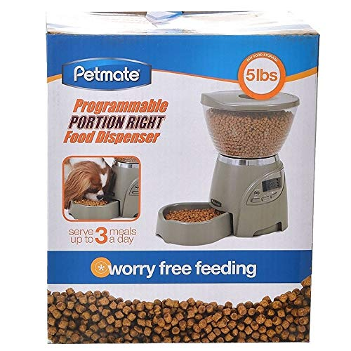 Petmate Portion Right Programmable Dog and Cat Feeder 2 Sizes Brushed Nickel