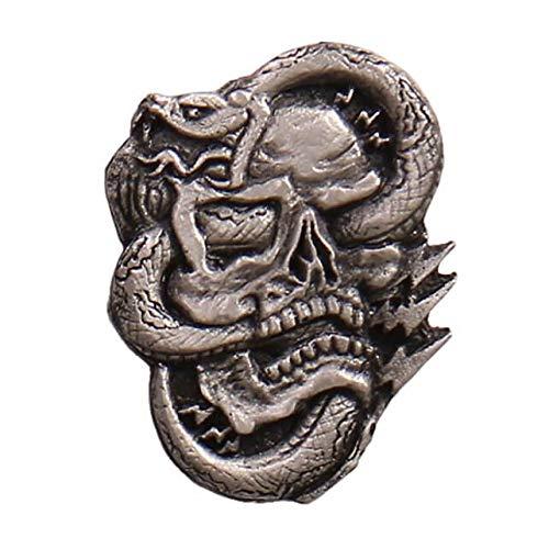 Licensed Originals Inc., Snake Skull Lapel Pin - Heavy Pewter Biker Artwork Brooch Badge Button Pins