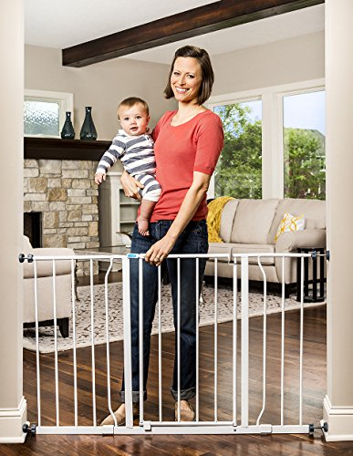 - Regalo Easy Open 47-Inch Super Wide Walk Thru Baby Gate, Bonus Kit, Includes 4-Inch and 12-Inch Extension Kit, 4 Pack Pressure Mount Kit and 4 Wall Cups and Mounting Kit