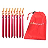 Description: Weight:4.4oz for total Size:L7×W0.6×H0.6 inch Color:Red  Package included: 8* red aluminum tent stakes 1* small pouch