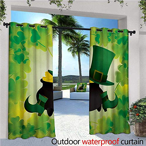St. Patricks Day Outdoor- Free Standing Outdoor Privacy Curtain Leprechaun Hat and Shoes Costume with Pot of Gold with Shamrock Leaves for Front Porch Covered Patio Gazebo Dock Beach Home W84 x L84 ()