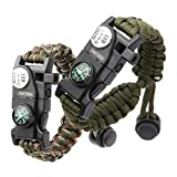 Paracord Bracelet, Survival Bracelet 20 in 1 Survival Gear Kit with Waterproof SOS LED Light Emergency Knife Whistle Compass Fire Starter for Camping Hiking Cycling (2 Pack)