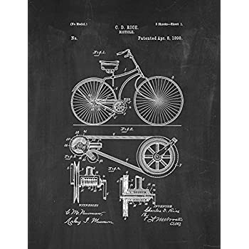 Bicycle patent print art poster chalkboard 8 5 x