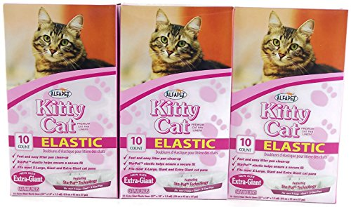 Alfapet Kitty Cat Extra-giant Elastic Sta-put Litter Box Liners 10 Per Box (3...