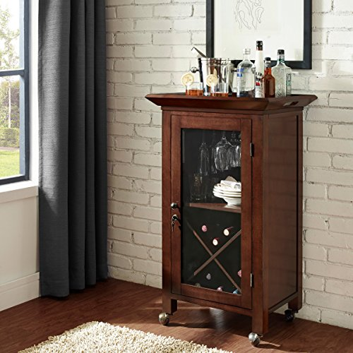 Entry Mahogany (Hardwood Portable Bar Cabinet Cart- Hand Rubbed Mahogany Finish With Beveled Glass Doors Convenient Storage- Caster Wheels Make This Bar Completely Movable From Room to Room- Perfect Holiday Addition)