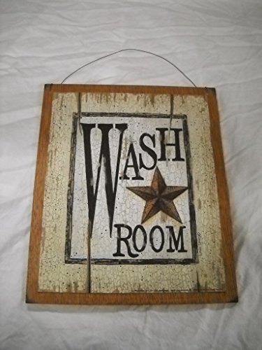 Outhouse Bath Decor (Wash Room Barn Star Country Bathroom Outhouse Bath Wooden Wall Art Sign)