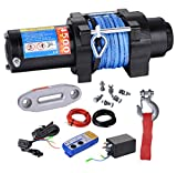 BIZ Tow Recovery Winch 4500lbs Capacity Electric Winch Synthetic Rope Winch for ATV/UTV/Small SUV or Buggy,4500D-1S