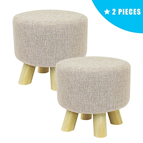 2 Piece Ottoman - Jerry & Maggie - 2 Pieces Footstool Fabric Ottomans Bench Seat Foot Rest Step Stool with Feet Protection Design | Cubic - 4 Leg - Beige