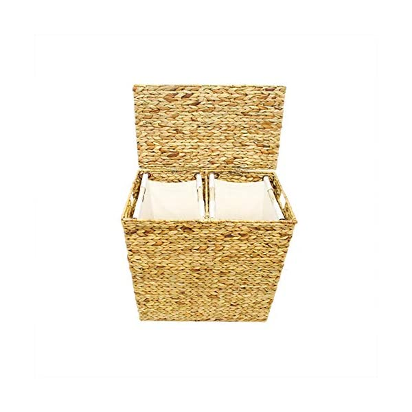 Trademark Innovations Seagrass Divided Laundry Hamper Clothes Basket with Lid