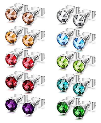 FUNRUN+12+Pairs+Stainless+Steel+Stud+Earrings+for+Women+Men+Piercing+Earrings+CZ+Studs+5mm