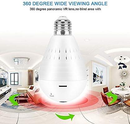 Cámara panorámica con bombilla WiFi inteligente de 360 grados ...