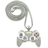 Rock Rapper Hip Hop Necklace Gamepad Pendant CZ Iced Out Bling Bling Crystal Punk Jewelry 36'' Rope Chain (Silver Tone)