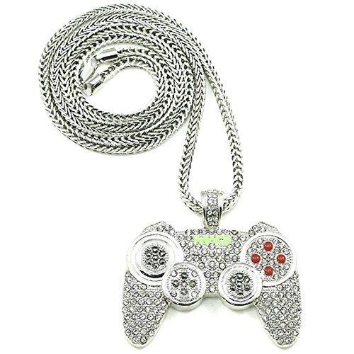 Rock Rapper Hip Hop Necklace Gamepad Pendant CZ Iced Out Bling Bling Crystal Punk Jewelry 36