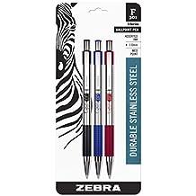 Zebra F-301 Retractable Ballpoint Pen, 0.7mm, Assorted, 3 Pack (27203)