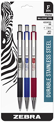 Zebra F-301 Ballpoint Stainless Steel Retractable Pen, Medium Point, 1.0mm, Assorted Ink, 3-Count: Black, Blue, Red