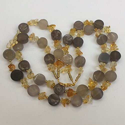 Strand Citrine Double Necklace - Gray and yellow double strand necklace, 16