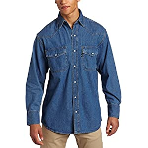 Men's Long Sleeve Enzyme Washed Western Snap Denim Shirt