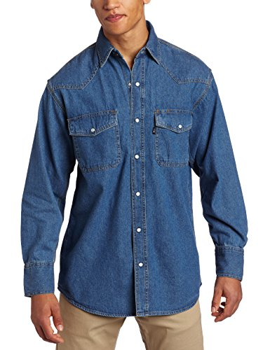 Key Apparel Men's Long Sleeve Western Snap Denim Shirt, Denim, Large-Regular
