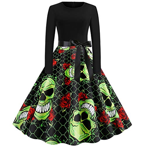 ZEFOTIM Halloween Dresses 2019, Women Vintage Long Sleeve Halloween 50s Housewife Evening Party Prom Dress(Green,Large)