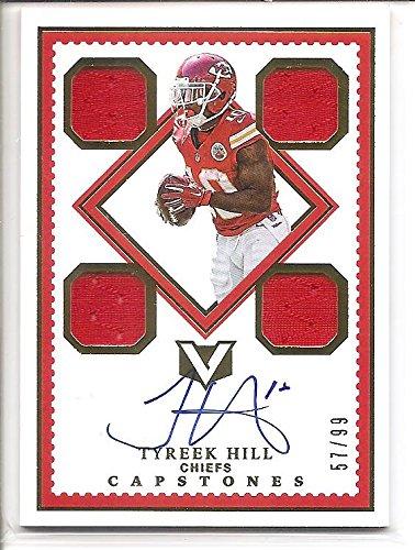 Tyreek Hill Kansas City Chiefs 2017 Panini Vertex Capstones Autograph / Quad Jersey Memorbilia Football Card #57/99 (Hill Autograph Aaron)
