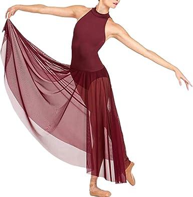 Freebily Vestido Largo de Danza Contemporanea Ballet Mujer Maillot ...