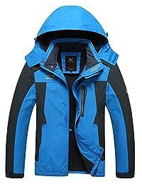 Mens Plus Size Sport Coat Waterproof Outerdoor Jacket with Detachable Hood