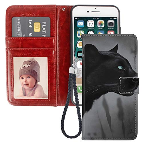 - Black Panther iPhone 6S Plus Wallet Case PU Leather Black TPU Phone Case with Credit ID Card Slots Gift Wrist Strap Purse Case for iPhone 6 Plus